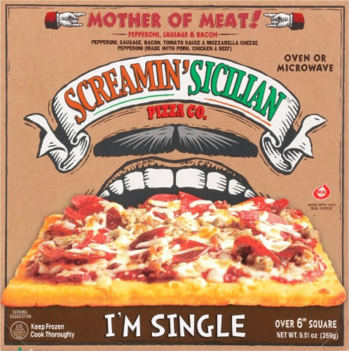Screamin' Sicilian Three Meat Single Serve Pizza Perspective: front