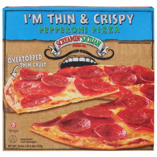 Screamin' Sicilian I'm Thin & Crispy Pepperoni Pizza Perspective: front