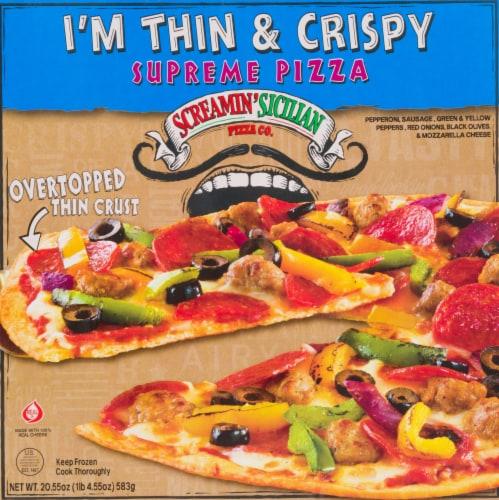 Screamin' Sicilian I'm Thin & Crispy Supreme Pizza Perspective: front
