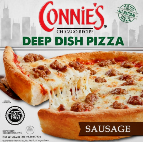 Connie's Sausage Deep Dish Frozen Pizza Perspective: front