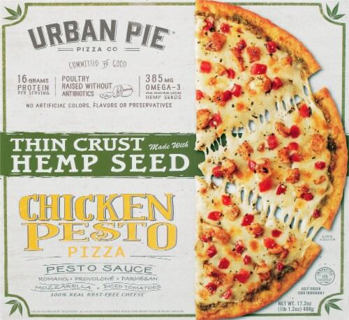 Urban Pie Pizza Co. Thin Crust Hemp Seed Chicken Pesto Pizza Perspective: front