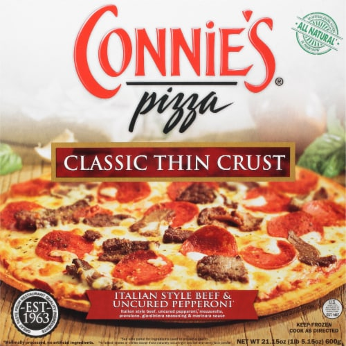 Connie's Classic Thin Crust Italian Style Beef & Uncured Pepperoni Pizza Perspective: front