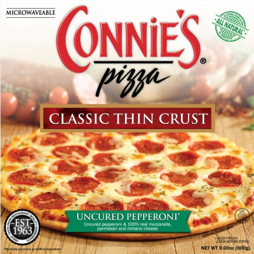 Connie's Uncured Pepperoni Classic Thin Crust Pizza Perspective: front
