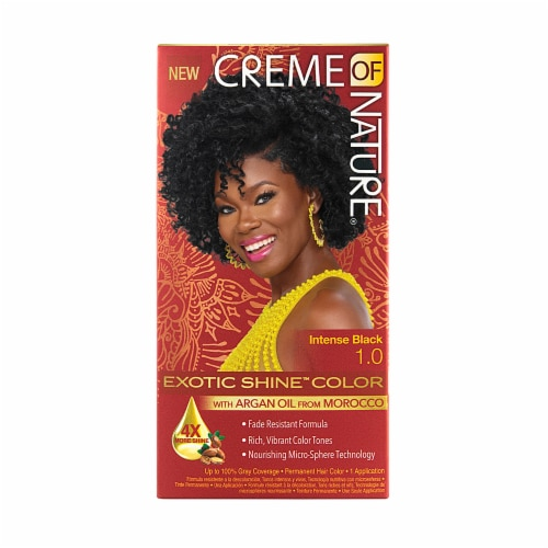 Creme of Nature Exotic Shine Intense Black 1.0 Permanent Hair Color Perspective: front