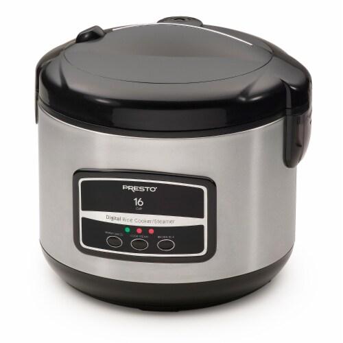 Presto Digital Rice Cooker/Steamer - Black/Silver Perspective: front
