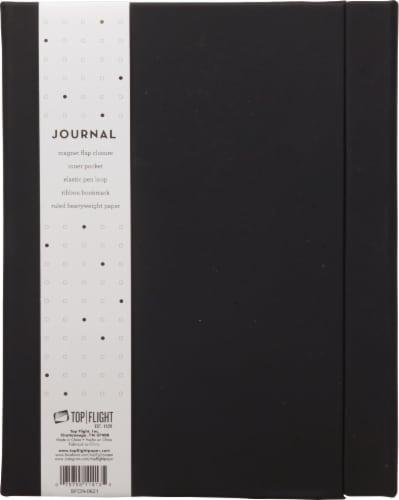 Top Flight Magnetic Flap Back Journal - Black Perspective: front