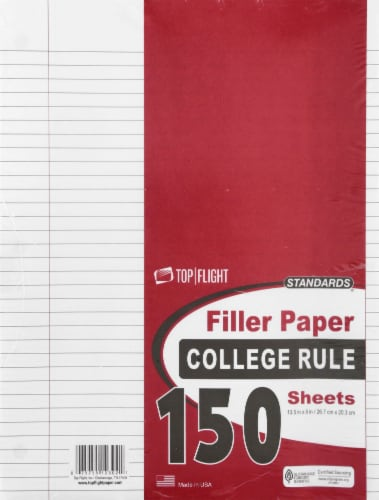 Top Flight Standards College Rule Filler Paper - 150 Sheets - White Perspective: front