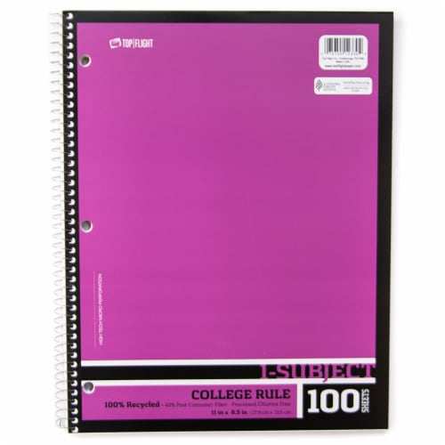 Top Flight Recyled Basics College Rule 1-Subject Notebook - 100 Sheets - Assorted Perspective: front