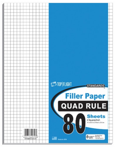 Top Flight Standards Quad Ruled Filler Paper - 80 pk - White Perspective: front