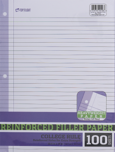 Top Flight Reinforced College Rule Filler Paper Perspective: front