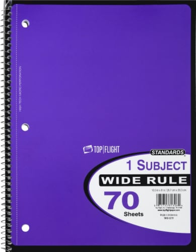 Top Flight Wide Ruled 1-Subject Notebook - 70 Sheets - Assorted Perspective: front