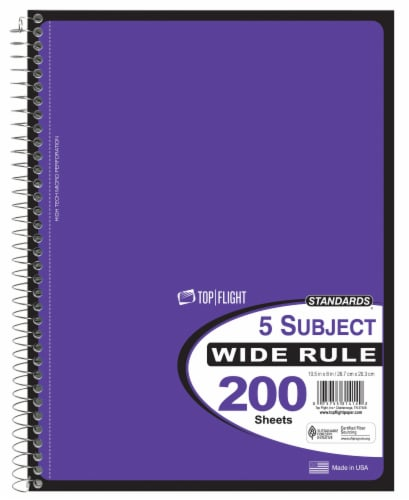 Top Flight Wide Rule 5-Subject Notebook - 200 Sheets - Assorted Perspective: front