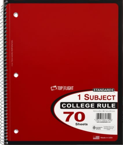 Top Flight College Ruled 1-Subject Notebook - 70 Sheets - Assorted Perspective: front