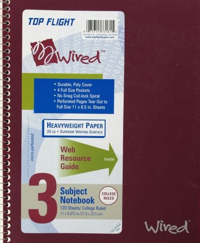 Top Flight Wired College-Ruled 3-Subject Notebook - Assorted Perspective: front