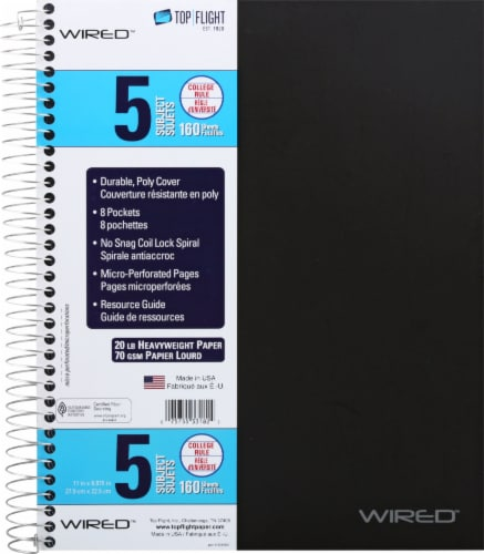 Top Flight College Rule 5-Subject Notebook - 160 Sheet - Assorted Perspective: front