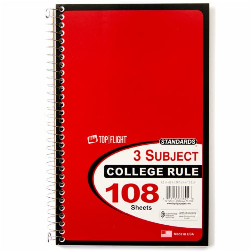 Top Flight College Rule 3-Subject Notebook - 108 Sheets - Assorted Perspective: front