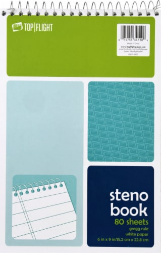 Top Flight Gregg Ruled Steno Book - 80 Sheets - White Perspective: front