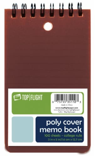 Top Flight College Rule Memo Book - 100 Sheets - Assorted Perspective: front
