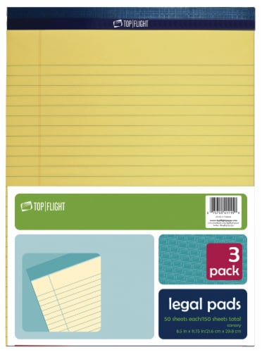 Top Flight Ruled Legal Pad - 3 Pack - Canary Perspective: front