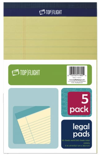 Top Flight Legal Pads - Canary - 5 Pack Perspective: front