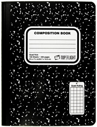 Top Flight Quad Rule Composition Book - 100 Sheets - Black / White Perspective: front