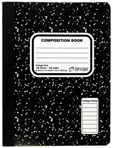 Top Flight Marble Composition Book - Black / White Perspective: front