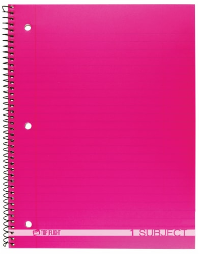 Top Flight Boss Wide Ruled 1-Subject Notebook - 90 Sheets - Assorted Perspective: front
