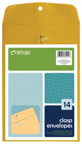 Top Flight Clasp Envelopes - 14 Pack - Kraft Perspective: front