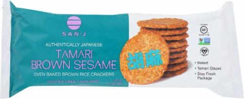 San-J Tamari Brown Sesame Rice Crackers Perspective: front