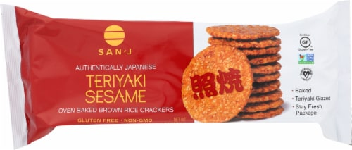 San-J Gluten Free Teriyaki Sesame Rice Crackers Perspective: front