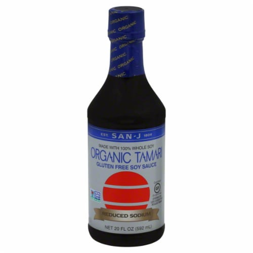 San-J Organic Tamari Sodium Free Soy Sauce Perspective: front