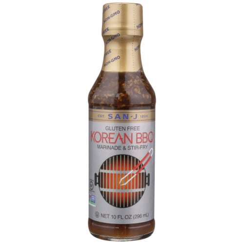 San-J Korean Gluten Free BBQ Marinade and Stir-Fry Sauce Perspective: front