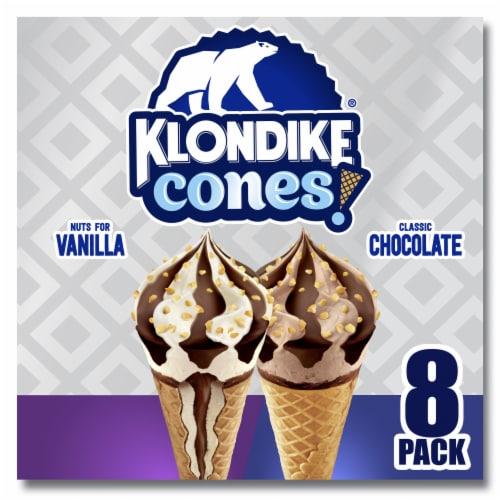 Klondike Cones Classic Chocolate & Nuts For Vanilla Ice Cream Cones Perspective: front