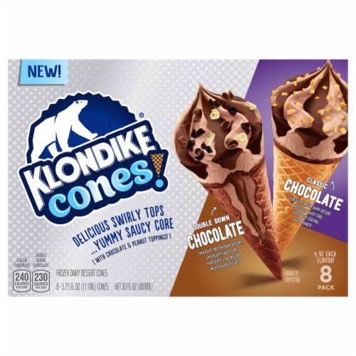 Klondike Cones Double Down Chocolate & Classic Chocolate Ice Cream Cones Perspective: front