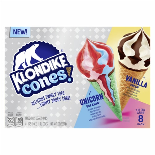 Klondike Vanilla Chillin' & Unicorn Dreamin' Frozen Ice Cream Cones Perspective: front
