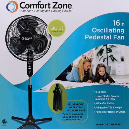 Comfort Zone Pedestal Fan - Black Perspective: front