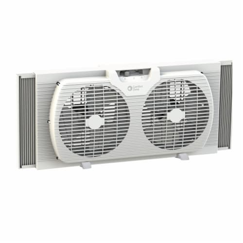 Comfort Zone Portable Twin Window Fan - White Perspective: front