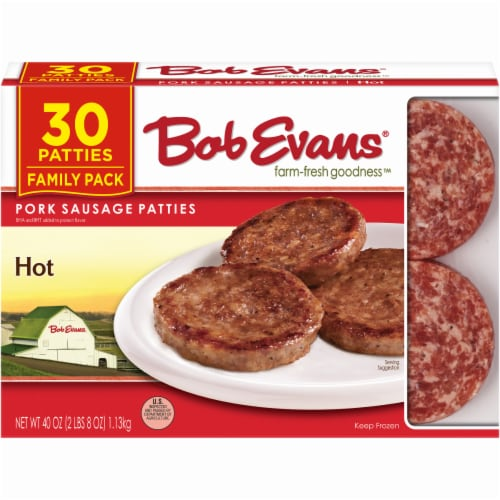 Bob Evans Farm-Fresh Goodness Hot Pork Sausage Patties Family Pack Perspective: front