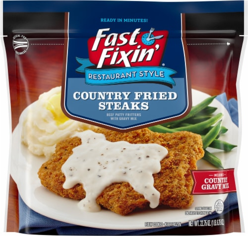 Fast Fixin' Country Fried Steaks With Country Gravy Mix Perspective: front