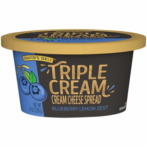 David's Deli Triple Cream Blueberry Lemon Zest Cream Cheese Spread Perspective: front