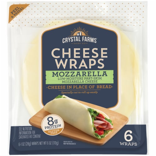 Crystal Farms Mozzerella Cheese Wraps 6 Count Perspective: front