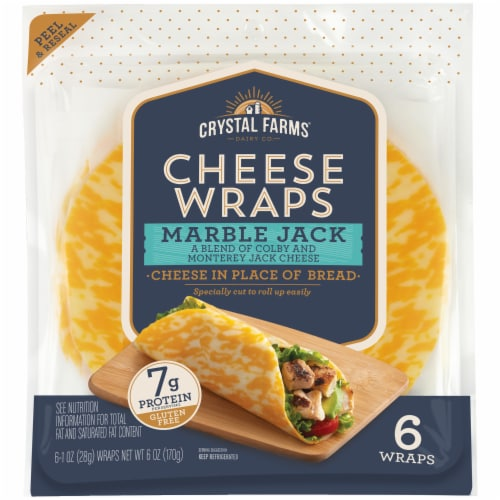 Crystal Farms Marble Jack Cheese Wraps 6 Count Perspective: front