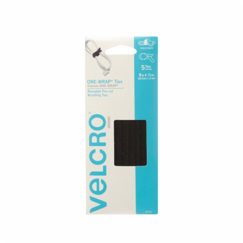 Velcro® One-Wrap Ties - 5 Pack - Black Perspective: front