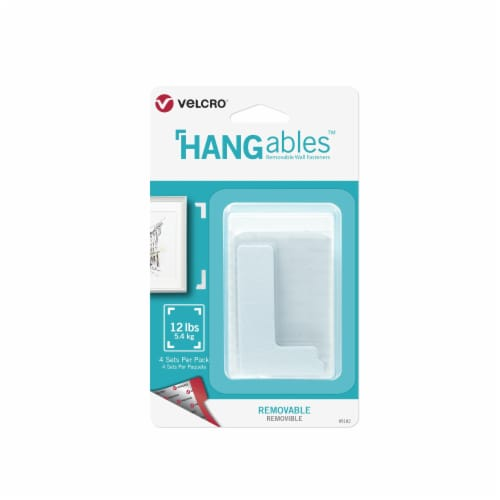 Velcro® HANGables Removable Wall Fasteners - 4 Pack  - White Perspective: front
