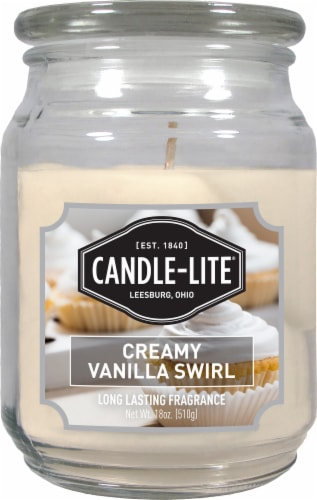 Candle-lite Creamy Vanilla Swirl Jar Candle Perspective: front