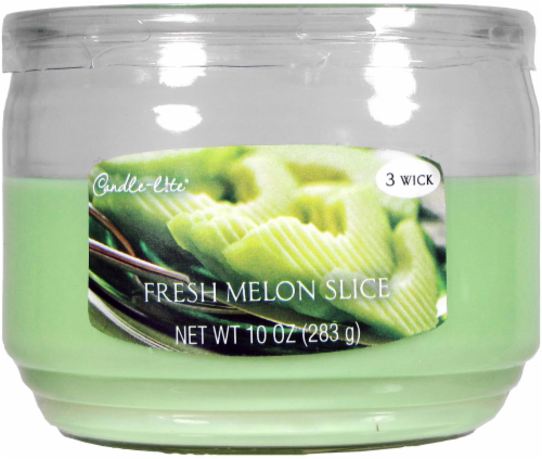Candle-lite Everyday Essentials Fresh Melon Slice 3-Wick Jar Candle - Fern Green Perspective: front