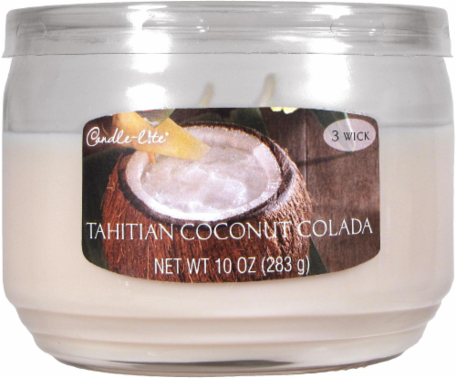 Candle-lite Everyday Essentials Tahitian Coconut Colada 3-Wick Jar Candle - White Perspective: front