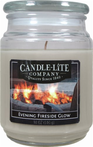 Candle-lite Evening Fireside Glow Glass Jar Candle - Natural Perspective: front