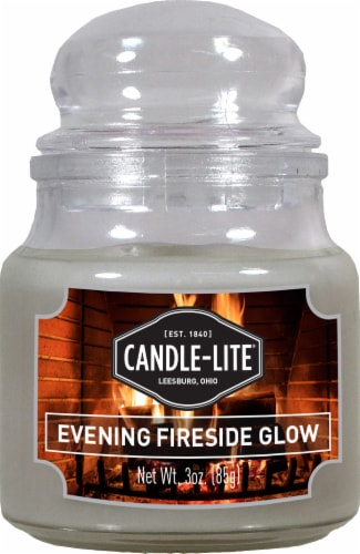 Candle-Lite Evening Fireside Glow Jar Candle - White - 3 Ounce Perspective: front