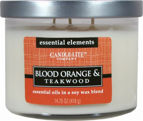 Candle-Lite Essential Elements Blood Orange & Teakwood 3-Wick Jar Candle - Ivory Perspective: front